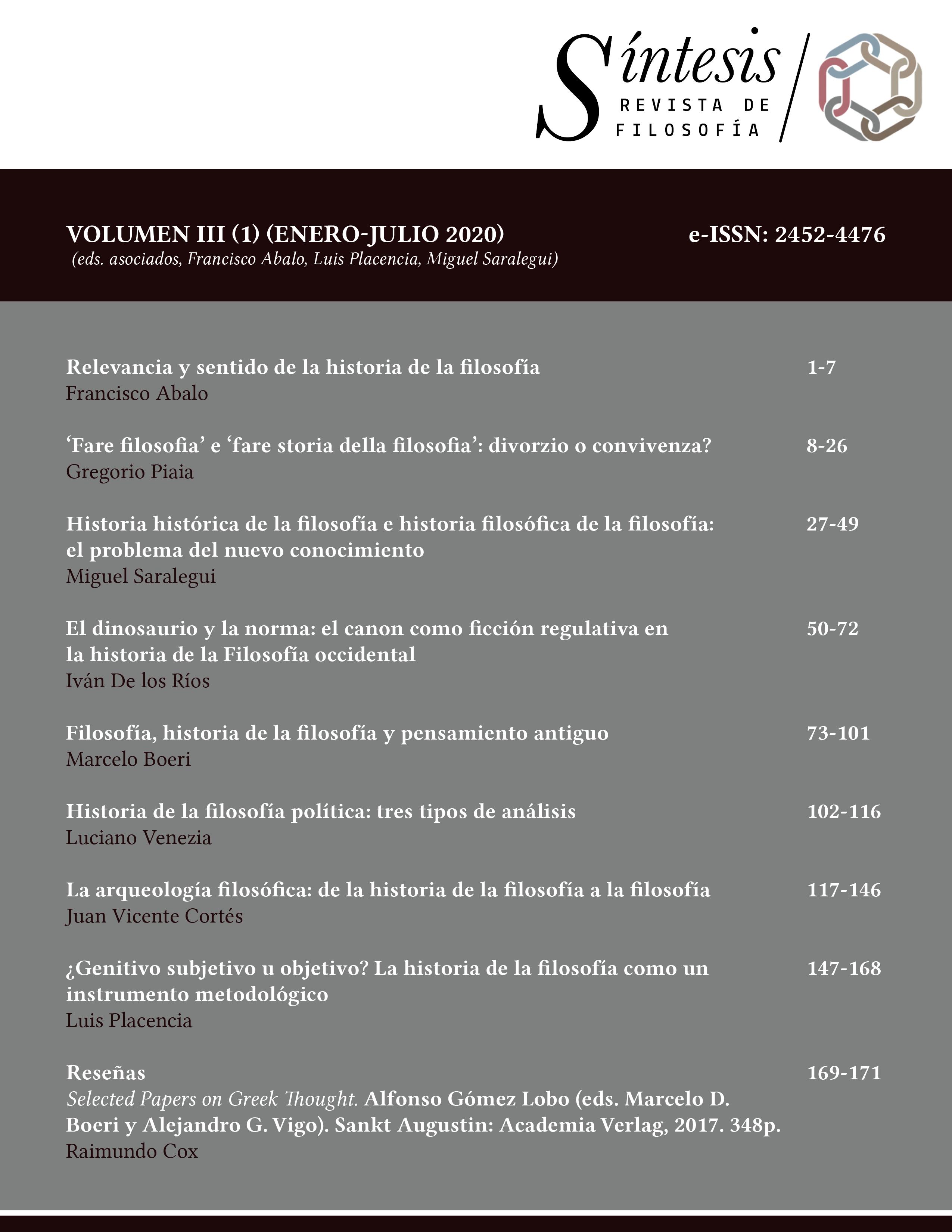 Fiosofía e historia de la filosofía